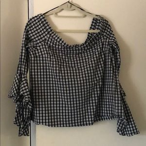 Off-shoulder gingham-style plaid top -stretchy!